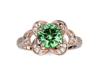 Rose Gold Emerald Engagement Ring Rose Gold Engagement Ring Emerald Ring Unique Engagement Ring Emerald in Rose Gold