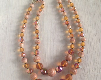 Vintage 60s Metallic Glass Clay Necklace In Browns And Yellows