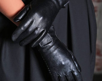 Black Leather Gloves/ Womens Gloves/ Leather Mittens/ Black Gloves/ Steampunk Gloves/ Gothic Gloves/ Wife Gift/ Winter Gloves/ Warm Gloves