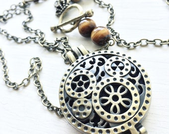Steampunk - Essential Oil Diffuser Locket Necklace - Aromatherapy Jewelry - Diffuser pendant -  CHOOSE YOUR BEADS - Amethyst Turquoise Stone