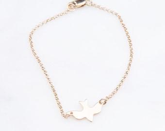 Bird Gold Bracelet, Dove Bracelet, Minimal Dove Bracelet, Gold Bird Bracelet, Silver Bird Bracelet, Rose Gold Bird Bracelet, Minimalist