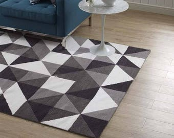 KAHULA GEOMETRIC MOSAIC 8X10 area rug in black white and grey tones