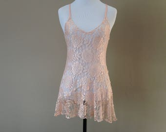 S / Victoria's Secret Gold Crown Sheer Lace Chemise Nightie Slip Lingerie / Small / FREE USA Shipping
