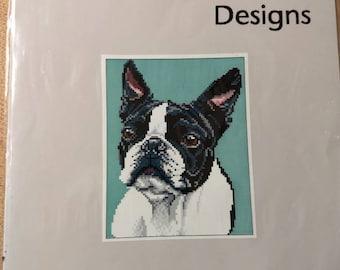 Boston Terrier cross stitch pattern
