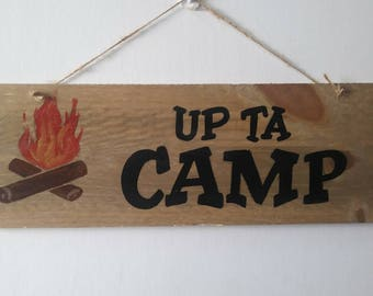 Rustic pallet wood sign Up Ta Camp