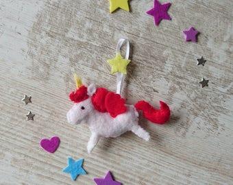 Plush Unicorn ~ felt ~ Unicorn Keychain ~ Unicorn