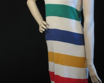 80s Halter Knit Midi Dress by Mondi w HBC type Stripes