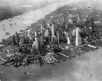 New York City Aerial Birds Eye View 1930s Manhattan Skyscrapers 1940s WWII America Black White Historic Urban Photography Photo Print