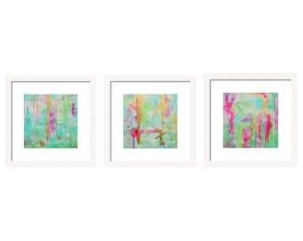 Abstract Watercolor Set of 3 Prints Abstract Art, Gallery Wall Art Set, Wall Art, Giclee Prints Interior Design Abstract Painting, Mint