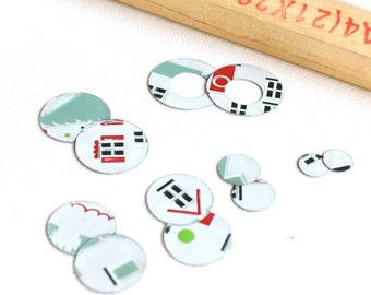 Handmade Vintage Tin Disks Washers - 12 pcs. - Christmas House Set no.1 - Winter Home White Mint Green Red Black