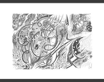"""Very detailed abstract pencil drawing, black & white, graphite, complex - """"nn6s"""""""