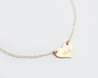 SS GF // Personalized Small Heart Necklace /Initial Necklace / Personalized Necklace / Dainty Monogram Charm / Bridesmaid Gift