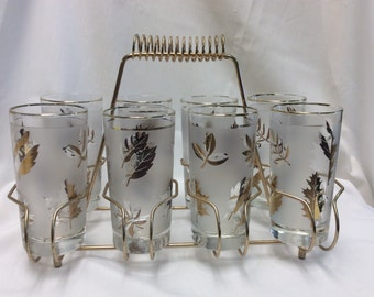 Libbey glass caddy with 8 glasses