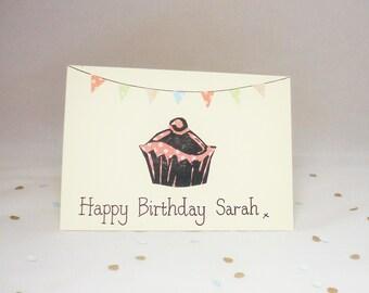 Cake birthday card, personalised birthday card, name Birthday card, own name birthday card, cake birthday card, bunting card, cupcake gift