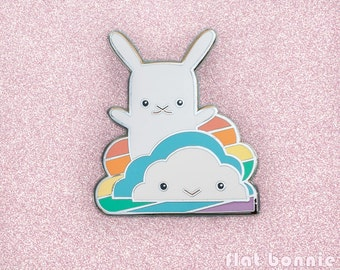 Cute rainbow cloud enamel pin, Kawaii bunny backpack pin, Metal badge jacket pin, Hard enamel animal jewelry, LGBT LGBTQ gift, Flat Bonnie