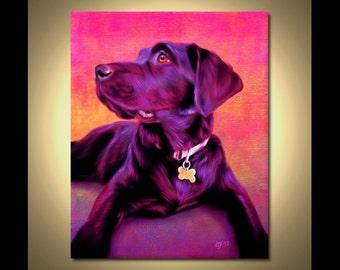 Black Labrador Portrait | Custom Black Labrador Portrait | Black Labrador Painting From Your Photos | Black Labrador Art by Iain McDonald