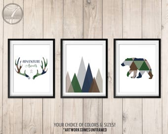 Boys Woodland Nursery Art Prints, Adventure Awaits, Navy Brown Green, Tribal Art Bear Antlers Mountains Set of (3) 5x7, 8x10, 11x14 Unframed