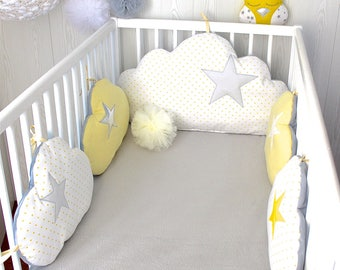 baby cot bumpers for 60cm or 70cm cm wide bed, 5 yellow, white and grey cloud pillows