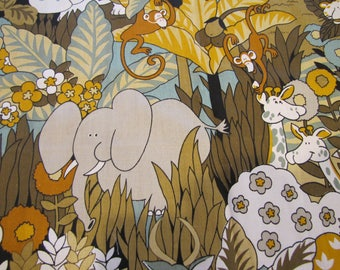 1970'S Jungle Fabric, House 'N Home Fabrics, 1970's, Cotton, Decorator Weight Fabric, Juvenile, Child, Kids, Jungle, Safari, Elephant, Lion
