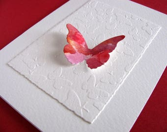 Watercoloured Butterfly on Embossed Butterfly Panel on Creamy Ivory Card / Red, Burgundy, Shades of Red / A2 Size / Ready to Ship