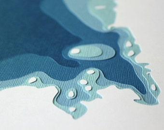 Mille Lacs Lake - original 8 x 10 papercut art