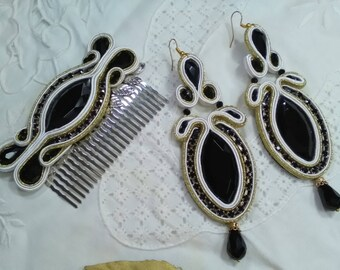 Earrings and flamenco peinecillo, earrings black and gold, godmother earrings, guest earrings, special gift, Mother's Day