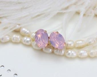 Pink opal earrings, Rose gold earrings, Bridal earrings, Blush earrings, Bridal jewelry, Rose water opal, Swarovski earrings, Oval earrings