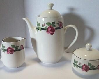 Tienshan Stoneware Tea Pot Creamer & Sugar Bowl (Rose Vine Pattern)