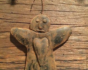 Blackened Beeswax Prim Angel Ornament  #539