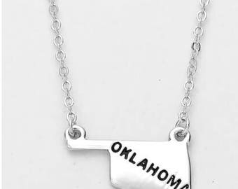 Hklahoma state , inspired necklace silver plated