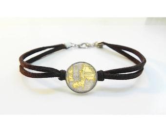 Newport Rhode Island Map Bracelet - Vintage Map - Leather Bracelet -  Map Jewelry