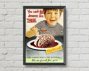 Six A4 vintage ads prints,poster,digital print,funny,retro,home decor,advertisements,brain,blood,weird,creepy