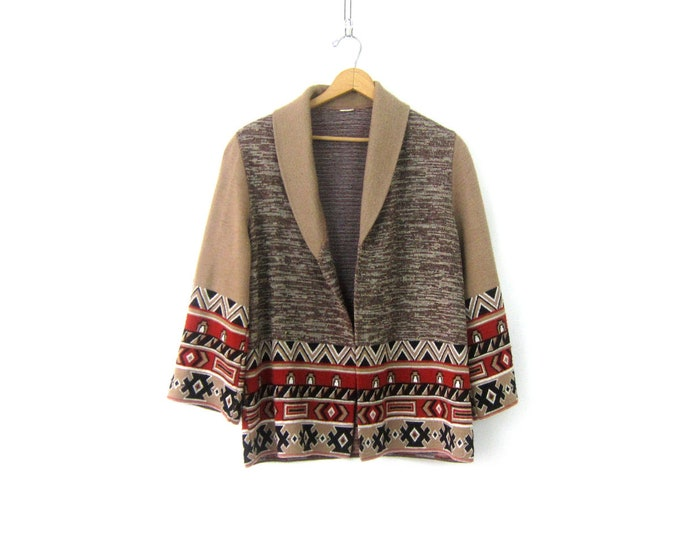 Boho Cardigan Sweater Open Fit Tribal Ethnic Sweater Vintage 70s Retro  Bohemian Sweater Tan Brown Festival Sweater Women's Medium Large