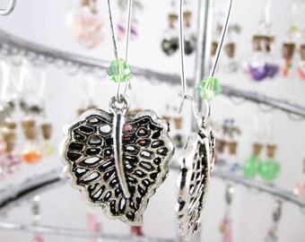 Earrings in silvery metal leaf REF BO124