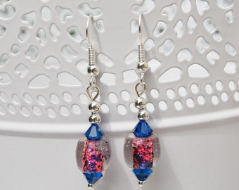 Neon pink and blue beaded earrings