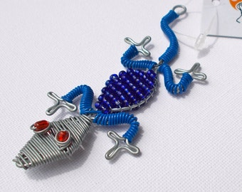 Gecko - Blue - Handcrafted from Streetwires - Fair Trade from South Africa