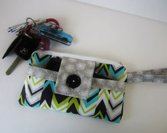 Fabric Wristlet Purse, Modern Wristlet, Summer Wristlet, Chevron Wristlet, Tiny Purse, Casual Wristlet, Wristlet for phone, Wristlet Purse