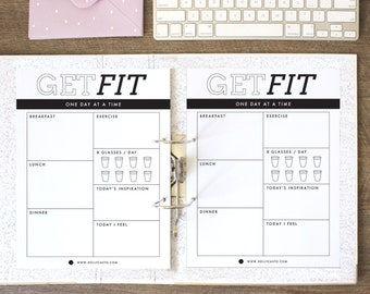 Daily Food Diary, Fitness Journal, Emotional Health, and Water Intake Tracker Printable Planner Sheets