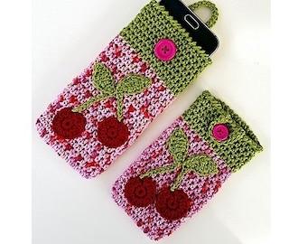"PDF: Smartphone Cozy ""Cherry"" Crochet Pattern"