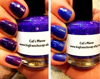 """Ombre Color Changing Thermal Nail Polish - Leopard Spot Glitter - """"Cat's Meow"""" - Gift for Mom - Temperature Changing - FREE U.S. SHIPPING"""