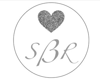 20 Monogrammed Heart Stickers, Personalized Labels, Monogrammed Stickers, Wedding Labels, Thank You Stickers, Save the Date, Silver Heart