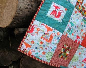 Fox Baby Quilt Woodland Animal Nursery Blanket Orange Teal Aqua