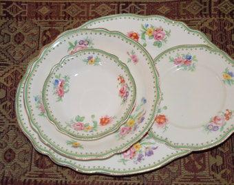 Johnson Brothers / Old Staffordshire / Malvern pattern / china / green / pink / floral / gold trim / Discontinued pattern / Malvern & Johnson Brothers / dinnerware / Victorian pattern china/