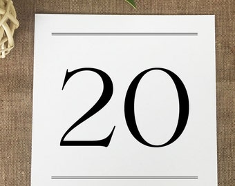 Preppy Monogram Table Numbers, Formal Wedding Table Numbers, Black Reception Table Number Cards, Printed
