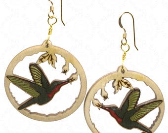 Hummingbirds on Curly Maple Wood Inlay Earrings on 14K Gold Filled Wires