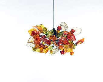 Ceiling pendant light with warm color flowers and leaves for living rooms, Kitchen island, bedroom, a unique lighting.