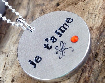 Je T'Aime Jewelry, French Love Message, Je t'Aime Pendant Necklace