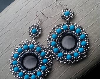 Chandelier Beaded Earrings, Blue and Silver Earrings, Moon-like Stone Earrings
