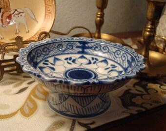 Vintage Blue & White Pedestal Bowl/Dish - (2) Available - Excellent Condition!!
