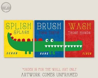 Childrens Kids Boys Alligator Bathroom Decor Art Prints, Brush, Wash Print  Set Of (